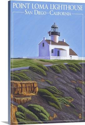 Point Loma Lighthouse - San Diego, California: Retro Travel Poster