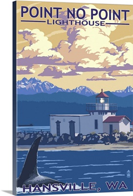 Point No Point Lighthouse - Hansville, WA: Retro Travel Poster