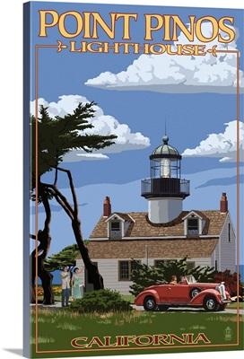 Point Pinos Lighthouse - Monterey, California: Retro Travel Poster