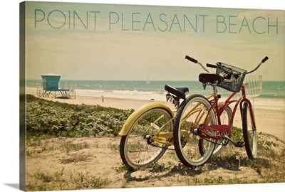 Point Pleasant Beach, New Jersey, Bicycles and Beach Scene