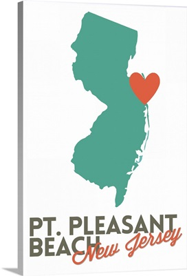 Point Pleasant Beach, New Jersey, Orange and Teal, Heart Design