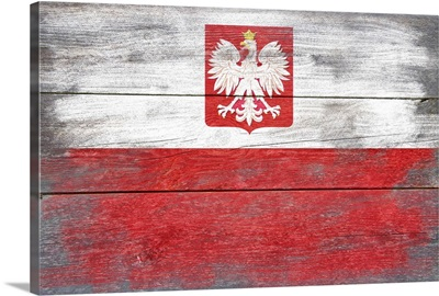 Poland Country Flag on Wood