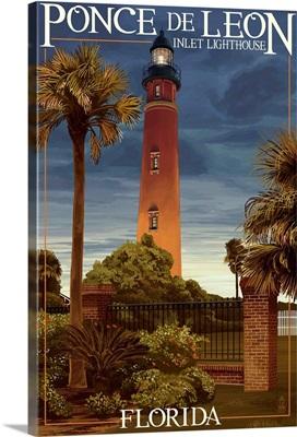 Ponce De Leon Inlet Lighthouse, Florida - Dusk Scene: Retro Travel Poster