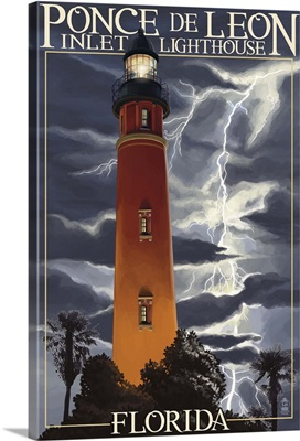 Ponce De Leon Inlet Lighthouse, Florida - Lightning at Night: Retro Travel Poster