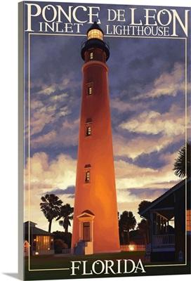 Ponce De Leon Inlet Lighthouse, Florida - Morning Scene: Retro Travel Poster