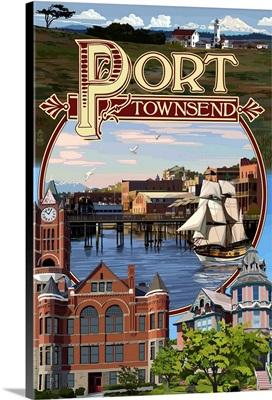 Port Townsend, Washington - Montage Scenes: Retro Travel Poster