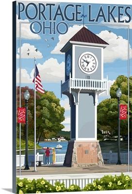 Portage Lakes, Ohio - Clock Tower: Retro Travel Poster