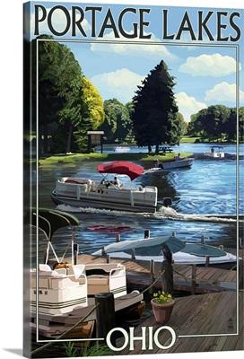 Portage Lakes, Ohio - Dock and Lake Scene: Retro Travel Poster
