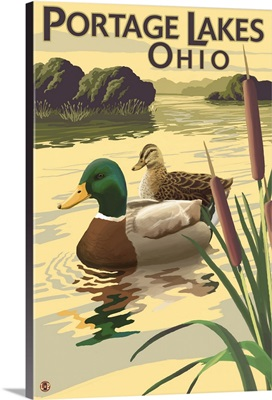 Portage Lakes, Ohio - Mallard Ducks: Retro Travel Poster
