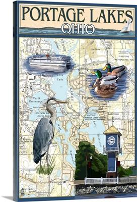 Portage Lakes, Ohio - Nautical Chart: Retro Travel Poster