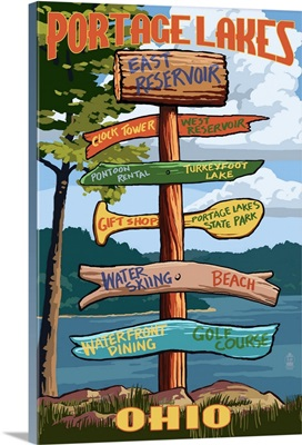 Portage Lakes, Ohio - Sign Destinations: Retro Travel Poster