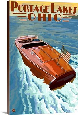 Portage Lakes, Ohio - Wooden Boat Scene: Retro Travel Poster