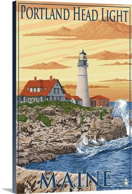 Portland Head Light - Portland, Maine: Retro Travel Poster