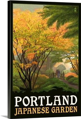 Portland Japanese Garden - Bridge: Retro Travel Poster