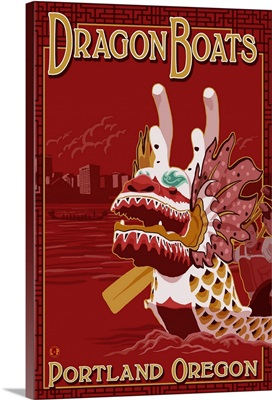 Portland, OR Dragon Boats: Retro Travel Poster
