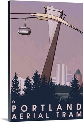 Portland, Oregon - Aerial Tram: Retro Travel Poster