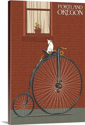 Portland, Oregon - Bicycle and Cat Letterpress: Retro Travel Poster