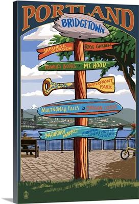 Portland, Oregon Destinations Sign (Powell's Books): Retro Travel Poster