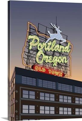 Portland, Oregon - Made in Oregon Sign: Retro Travel Poster