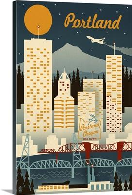 Portland, Oregon - Retro Skyline: Retro Travel Poster