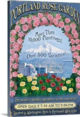 Portland, Oregon - Rose Garden Vintage Sign: Retro Travel Poster