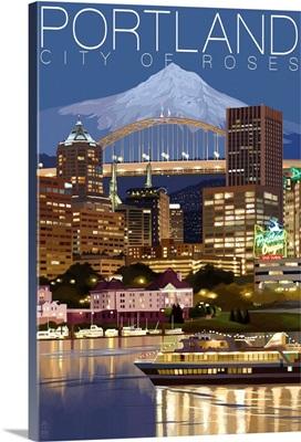 Portland, Oregon, Skyline at Night