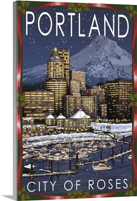 Portland, Oregon - Skyline at Night - Christmas Version: Retro Travel Poster