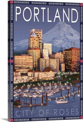Portland, Oregon - Skyline at Night: Retro Travel Poster