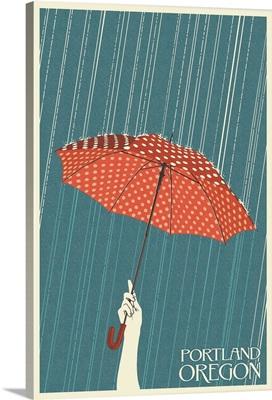 Portland, Oregon - Umbrella - Letterpress: Retro Travel Poster