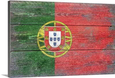 Portugal Country Flag on Wood