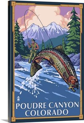 Poudre Canyon, Colorado - Fisherman: Retro Travel Poster