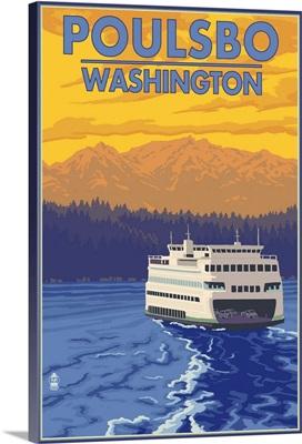 Poulsbo, Washington - Ferry and Sunset: Retro Travel Poster