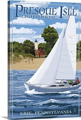 Presque Isle Lighthouse - Erie, Pennsylvania: Retro Travel Poster