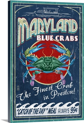 Preston, Maryland - Blue Crabs Vintage Sign: Retro Travel Poster