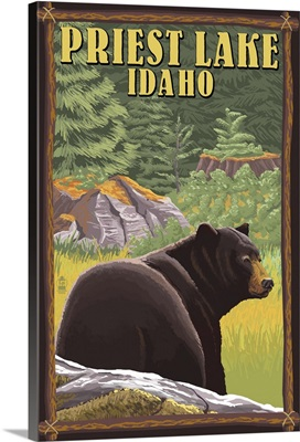 Priest Lake, Idaho - Bear in Forest -  : Retro Travel Poster