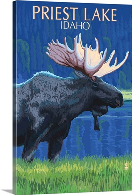 Priest Lake, Idaho - Moose at Night -  : Retro Travel Poster