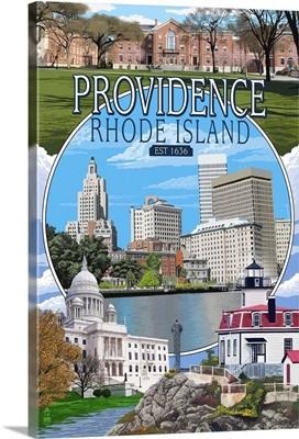 Providence, Rhode Island - Montage Scenes: Retro Travel Poster