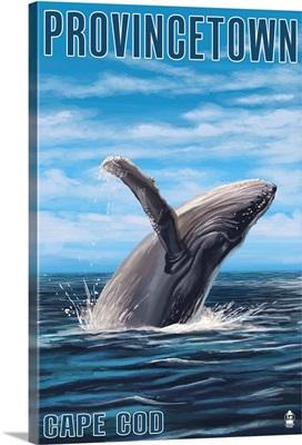Provincetown, Massachusetts - Humback Whale: Retro Travel Poster