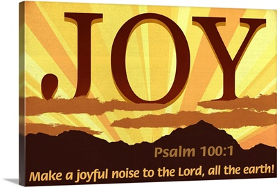Psalm 100:1 - Inspirational - Lantern Press Artwork: Retro Travel Poster