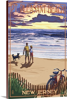 Pt. Pleasant Beach, New Jersey - Beach and Sunset: Retro Travel Poster