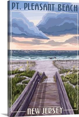 Pt. Pleasant Beach, New Jersey - Beach Boardwalk Scene: Retro Travel Poster