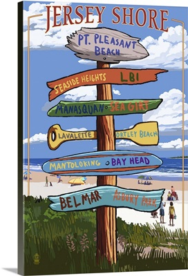 Pt. Pleasant Beach, New Jersey - Destinations Signpost: Retro Travel Poster
