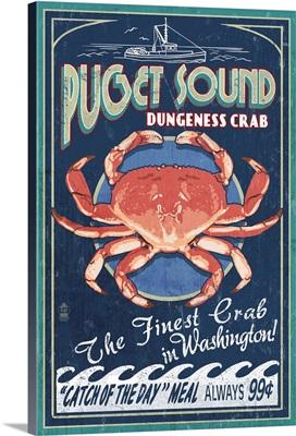 Puget Sound, Washington - Dungeness Crab Vintage Sign: Retro Travel Poster