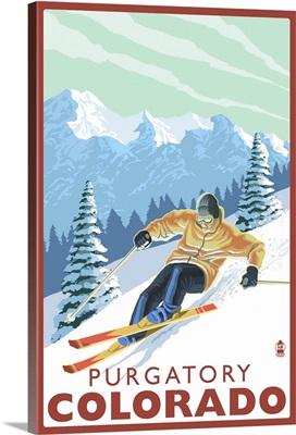 Purgatory, Colorado - Downhill Skier: Retro Travel Poster