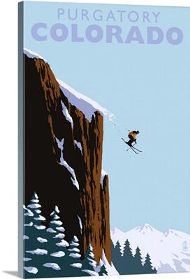 Purgatory, Colorado - Skier Jumping: Retro Travel Poster