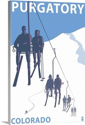 Purgatory, Colorado - Skier Lift: Retro Travel Poster