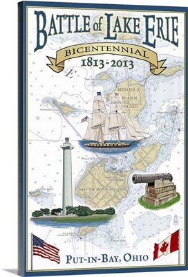 Put-In-Lake, Ohio - Battle of Lake Erie Nautical Chart: Retro Travel Poster