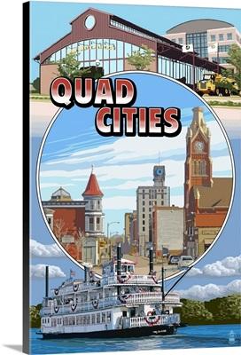 Quad Cities - Montage Scenes: Retro Travel Poster