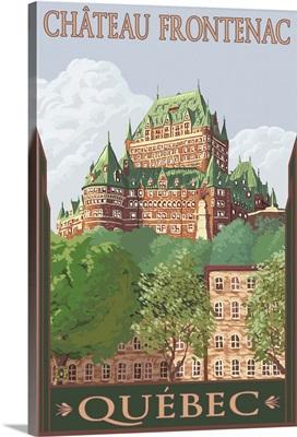 Quebec City, Canada - Chateau Frontenac: Retro Travel Poster