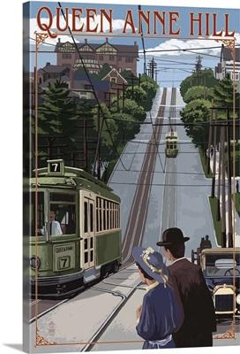 Queen Anne Hill Counterbalance - Seattle, Washington: Retro Travel Poster